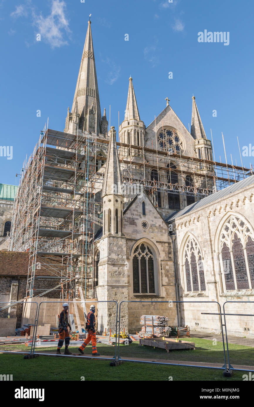 Scaffolding surrounding Chichester Cathedral as repairs are underway in Chichester, West Sussex, England, UK. - Stock Image