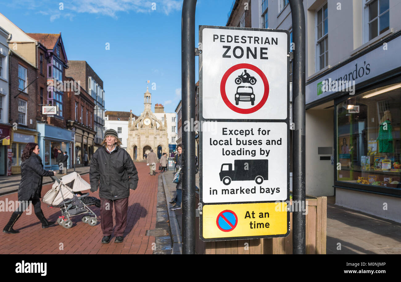 Pedestrian Zone road sign in South Street, Chichester, West Sussex, England, UK. - Stock Image