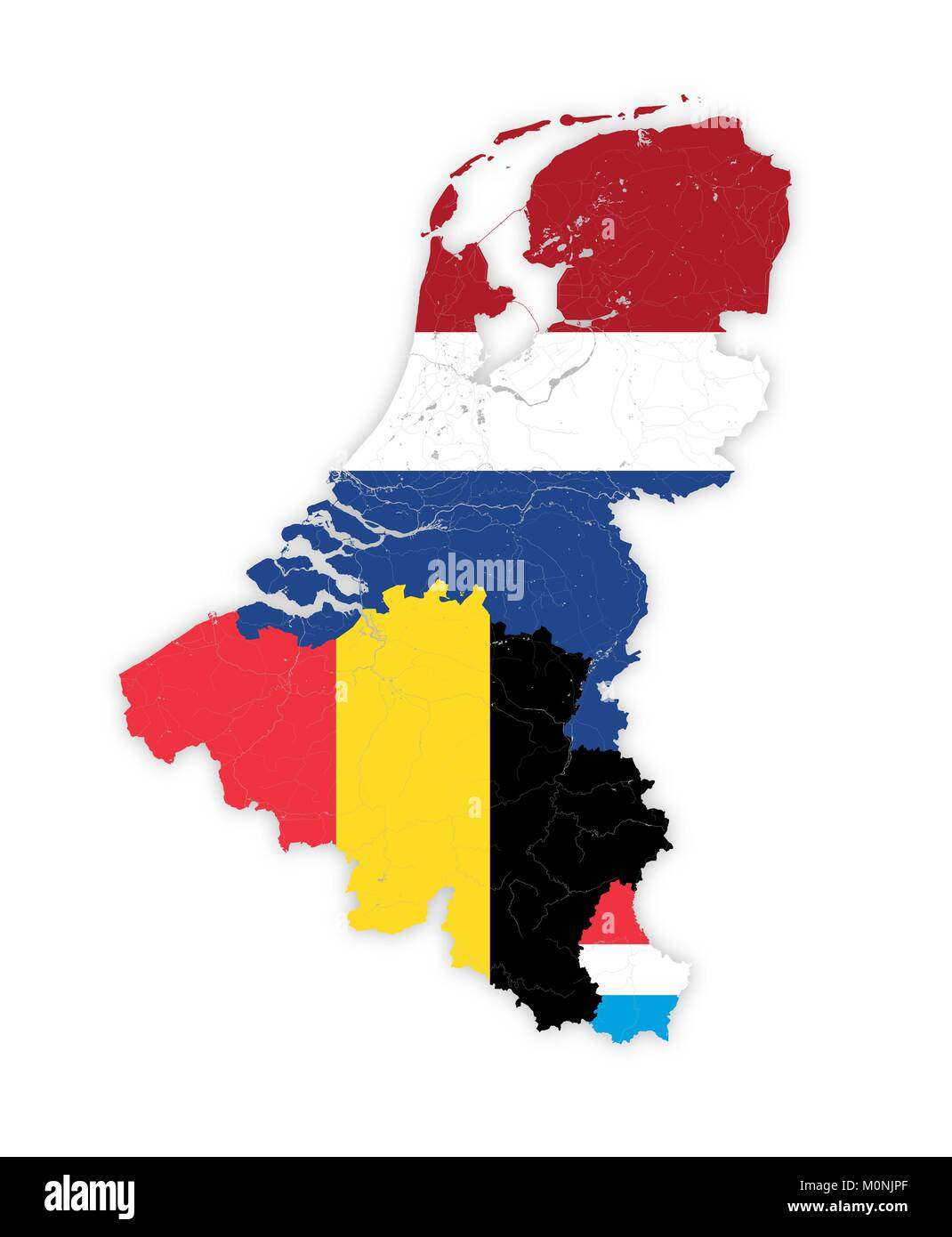 Map of BeNeLux countries with rivers and lakes in colors of the national flags. Map consists of separate maps of - Stock Image