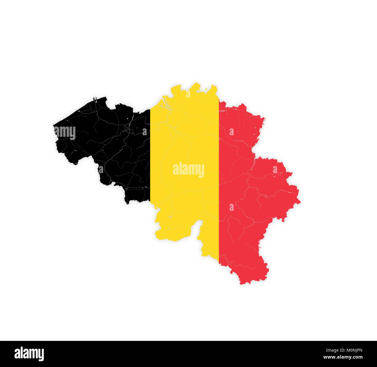 Map of Belgium with rivers and lakes in colors of the national flag. Please look at my other images of cartographic - Stock Image