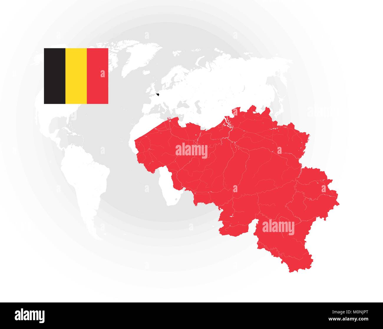 Map of Belgium with rivers and lakes, national flag of Belgium and world map as background. Please look at my other - Stock Vector