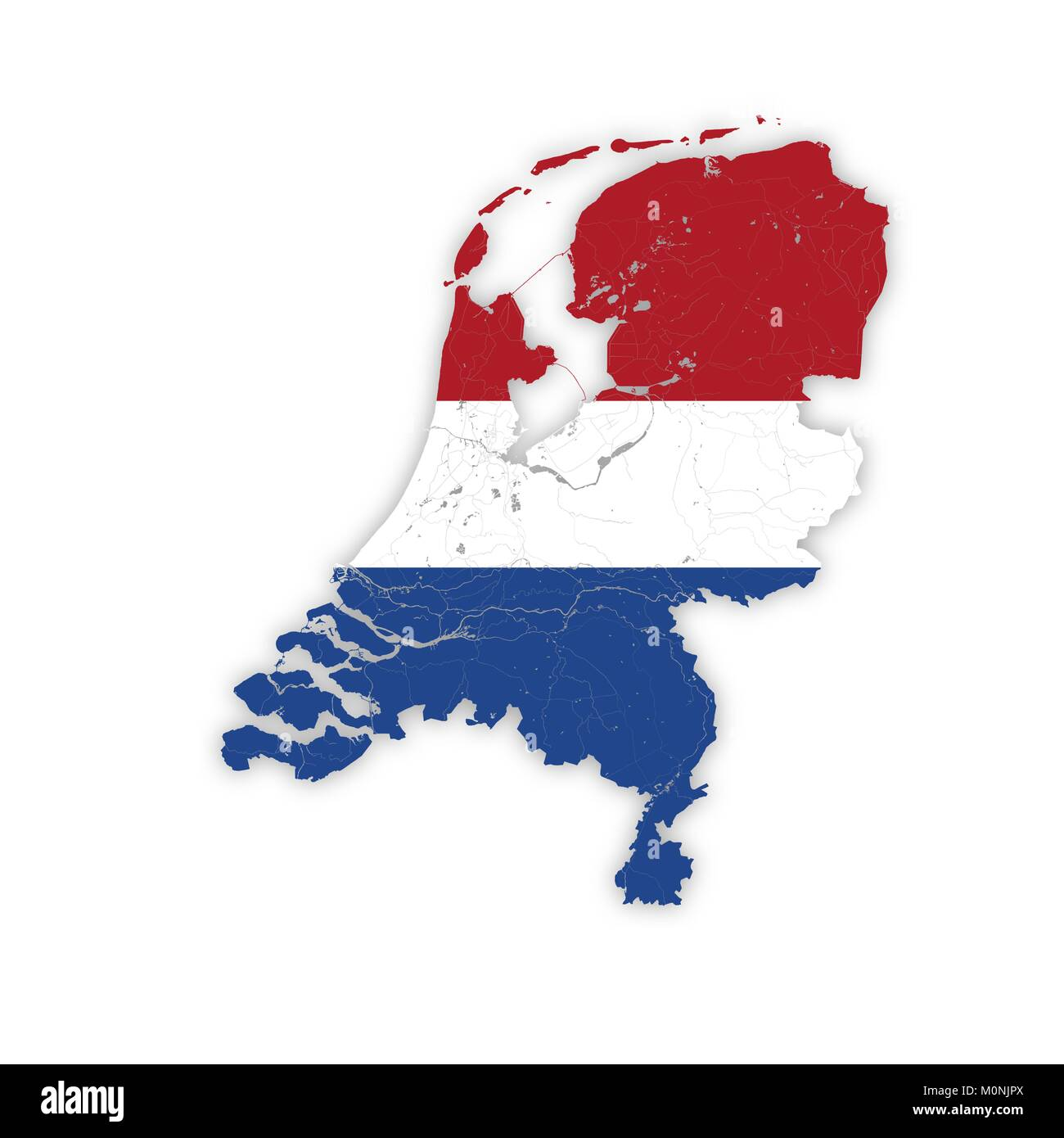 Map of Netherlands with rivers and lakes in colors of the national flags. Please look at my other images of cartographic - Stock Image