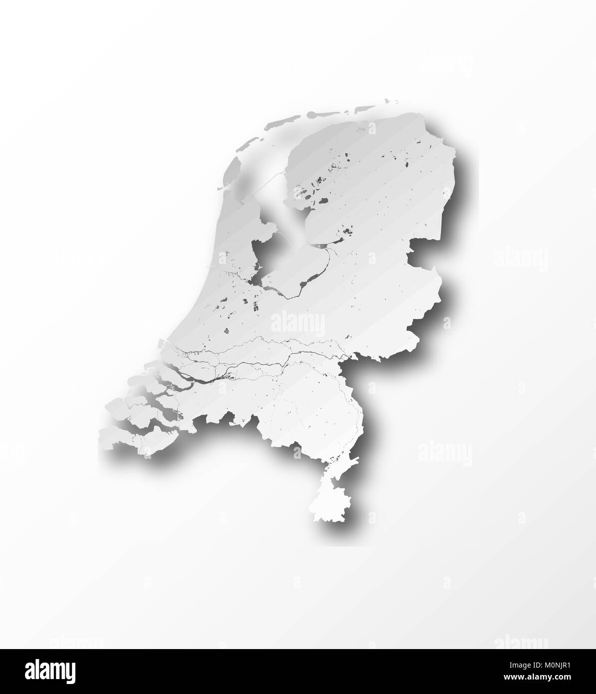 Map of Netherlands with paper cut effect. Rivers and lakes are shown. - Stock Vector