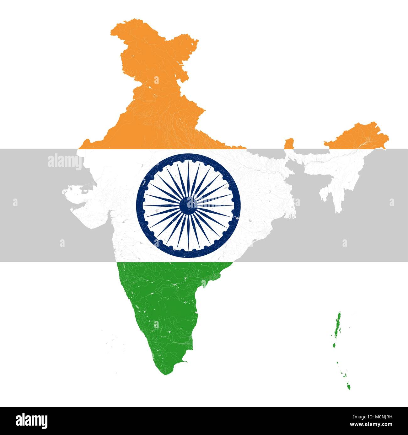 Map of India with rivers and lakes in colors of the national flag of India.. Map consists of separate maps of federal - Stock Vector