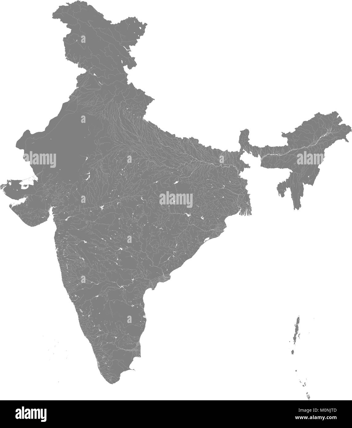 Map of India with rivers and lakes. Especially looks nice at high magnification. Not for navigational use. - Stock Image
