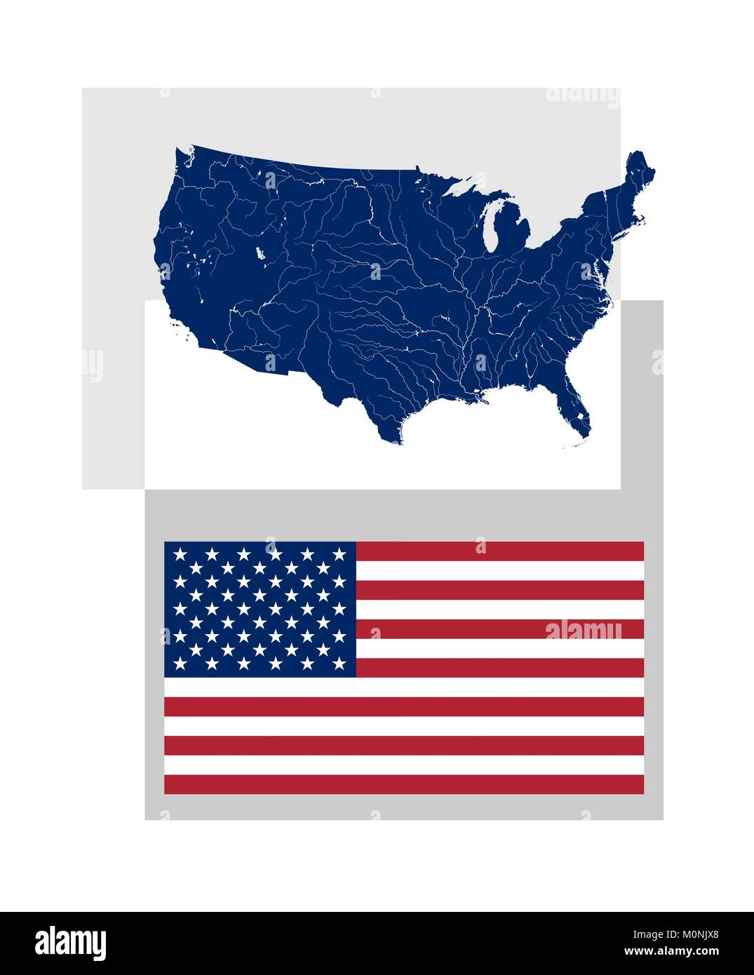 Map of the United States of America with rivers and lakes and Stock ...