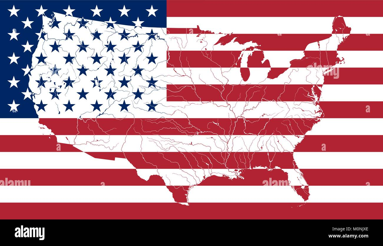 Map Of The United States Of America On The American Flag Colors Of - American-flag-us-map