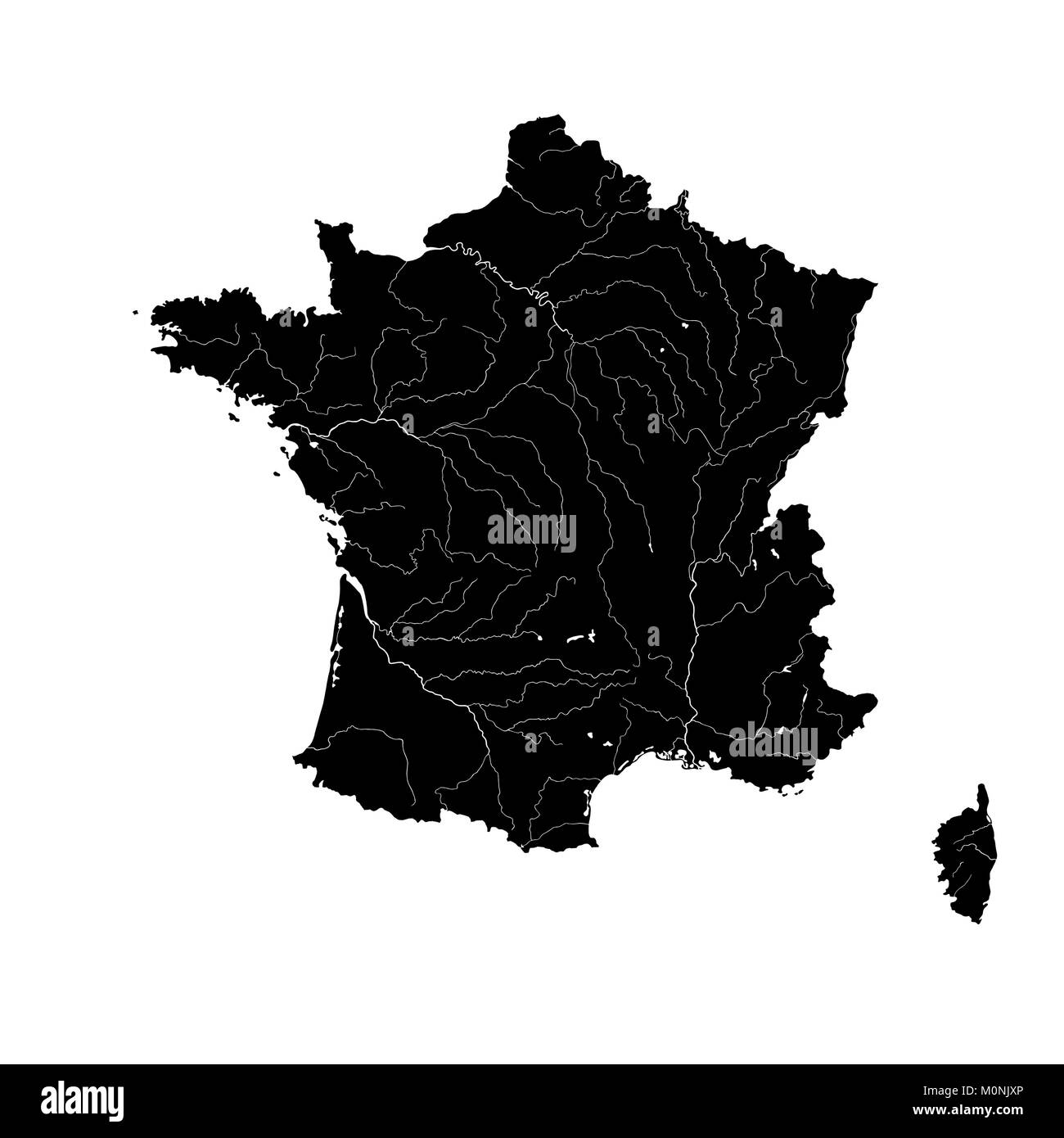 Map Of France Rivers.Outline Map Of France With Rivers Stock Vector Art Illustration