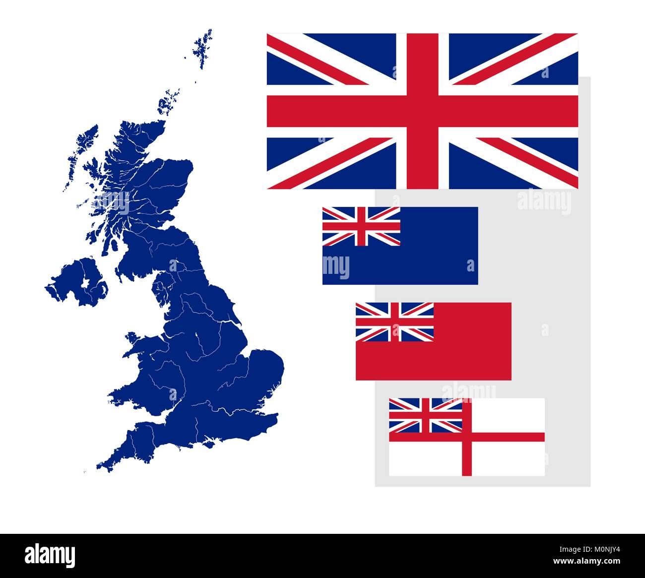 Map of the United Kingdom with rivers and four British flags - national flag, state ensign, civil ensign and naval - Stock Image