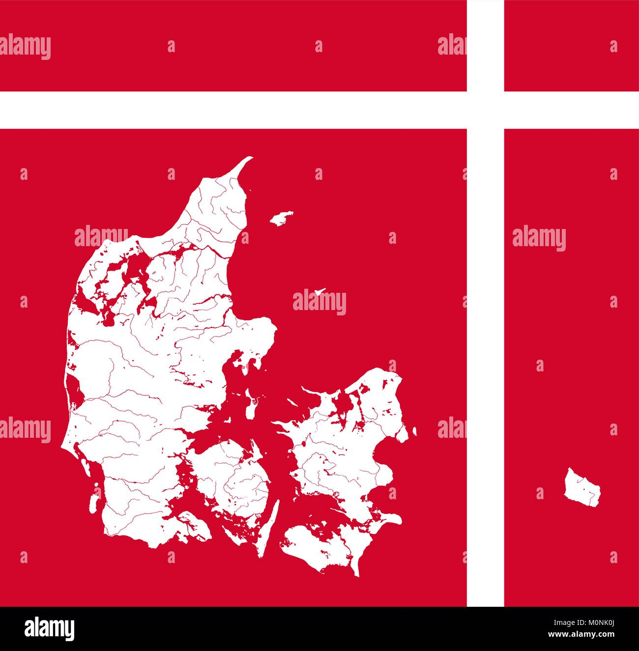 Very detailed outline map of Denmark in colors of the Danish flag. Colors of flag are proper. Rivers and lakes are - Stock Image