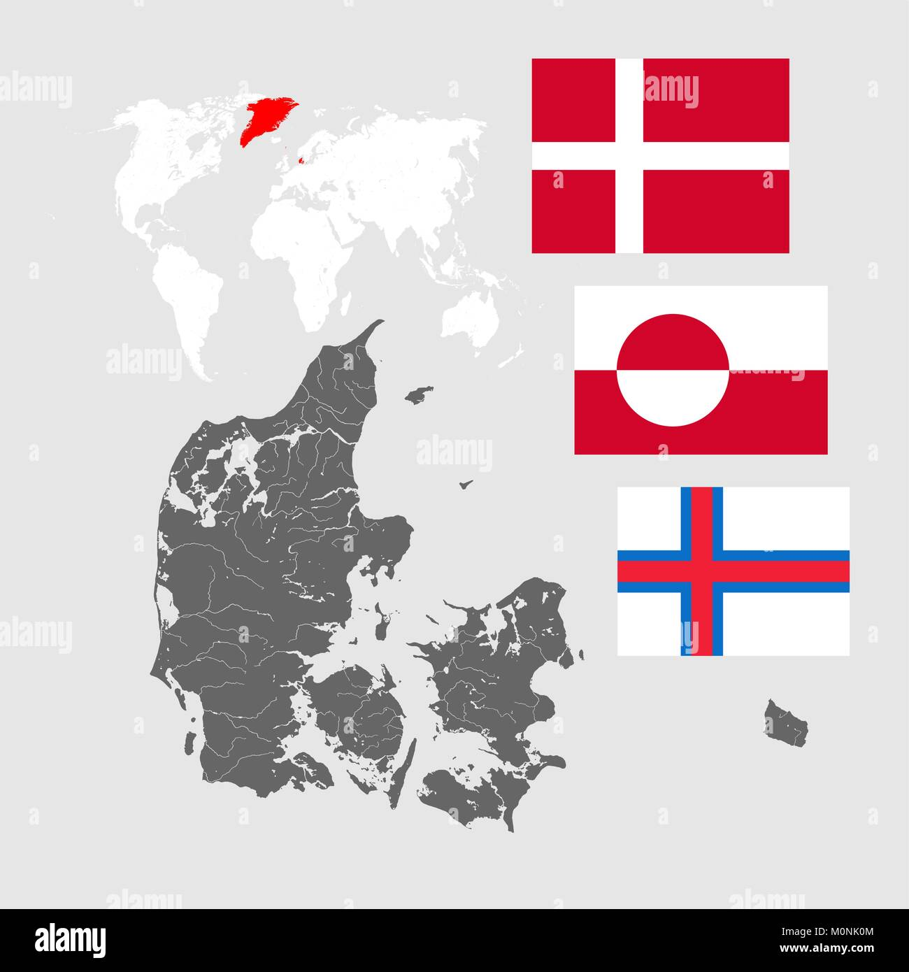 Map of Denmark with lakes and rivers, world map and three flags - Flag of Denmark (Dannebrog), Flag of Greenland - Stock Vector