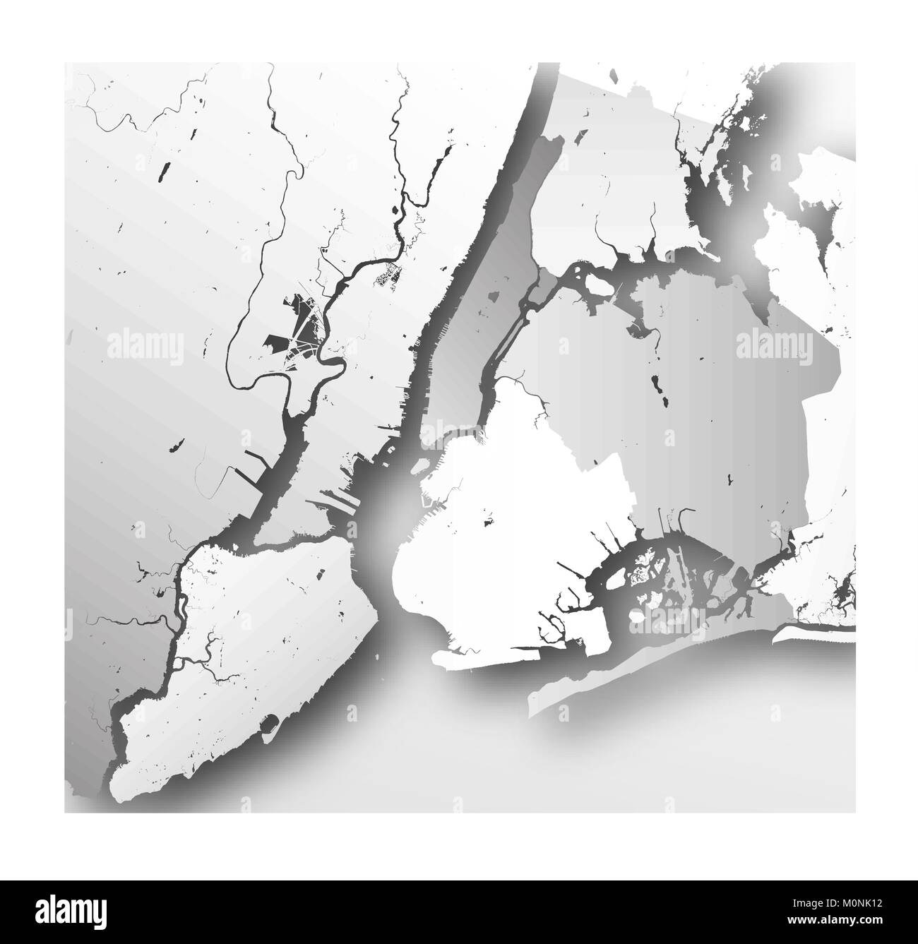 High resolution map of New York City with NYC boroughs Stock Vector
