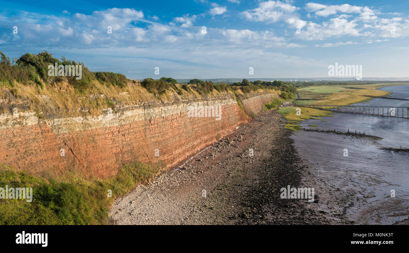 View of Aust Cliff, a famous geological locality and Site of Special Scientific Interest (SSSI), from the Severn - Stock Image