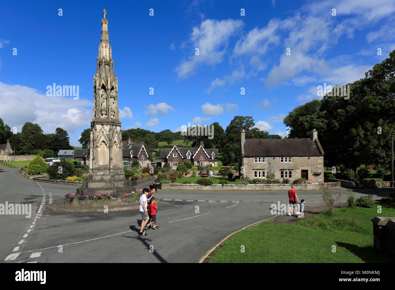 Memorial cross to Mary Watts Russell, Ilam village; Staffordshire; England; UK - Stock Image