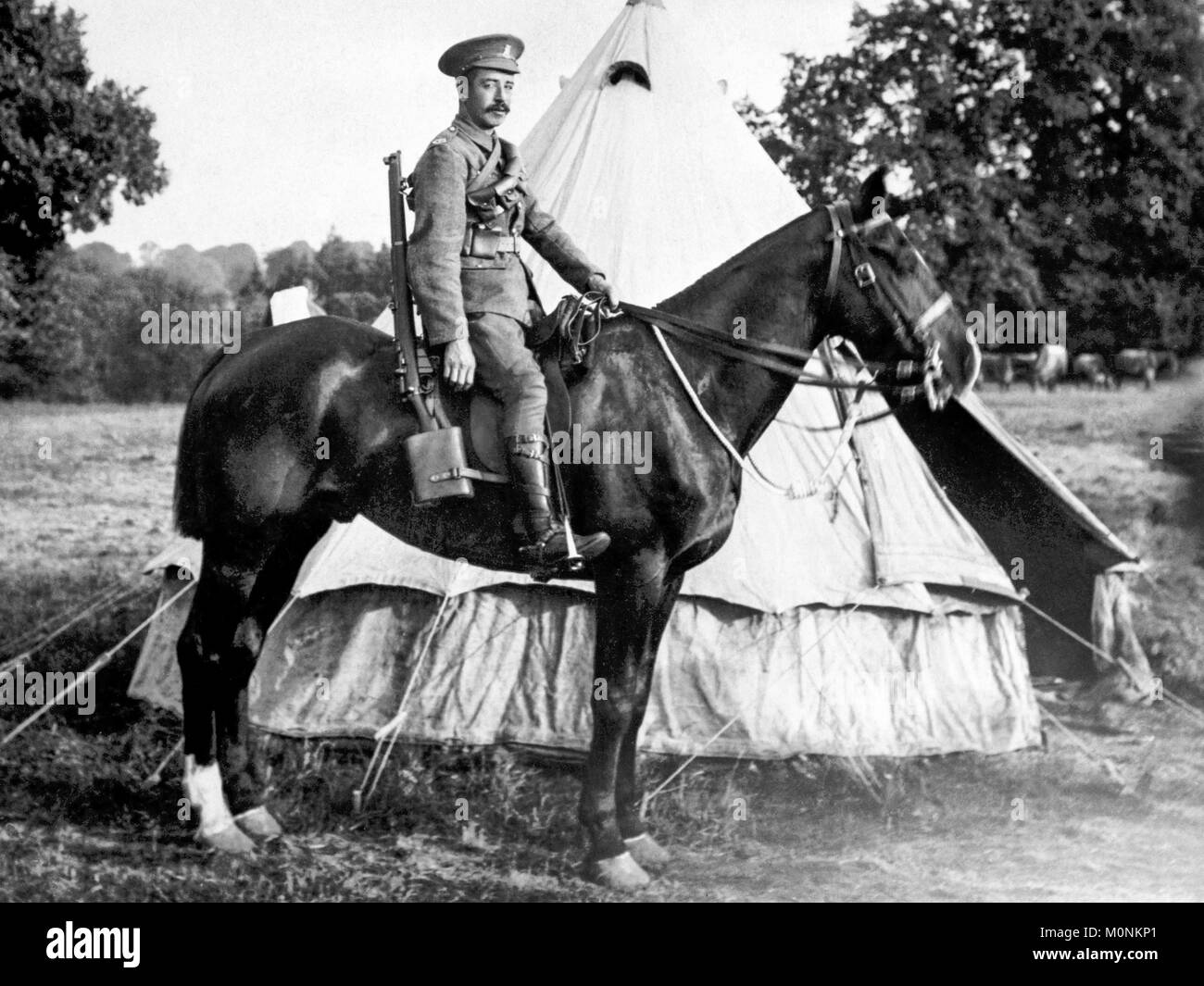 Private David T Jones of the South Wales Borderers, a mounted regiment,  in full uniform and carrying a rifle sitting - Stock Image
