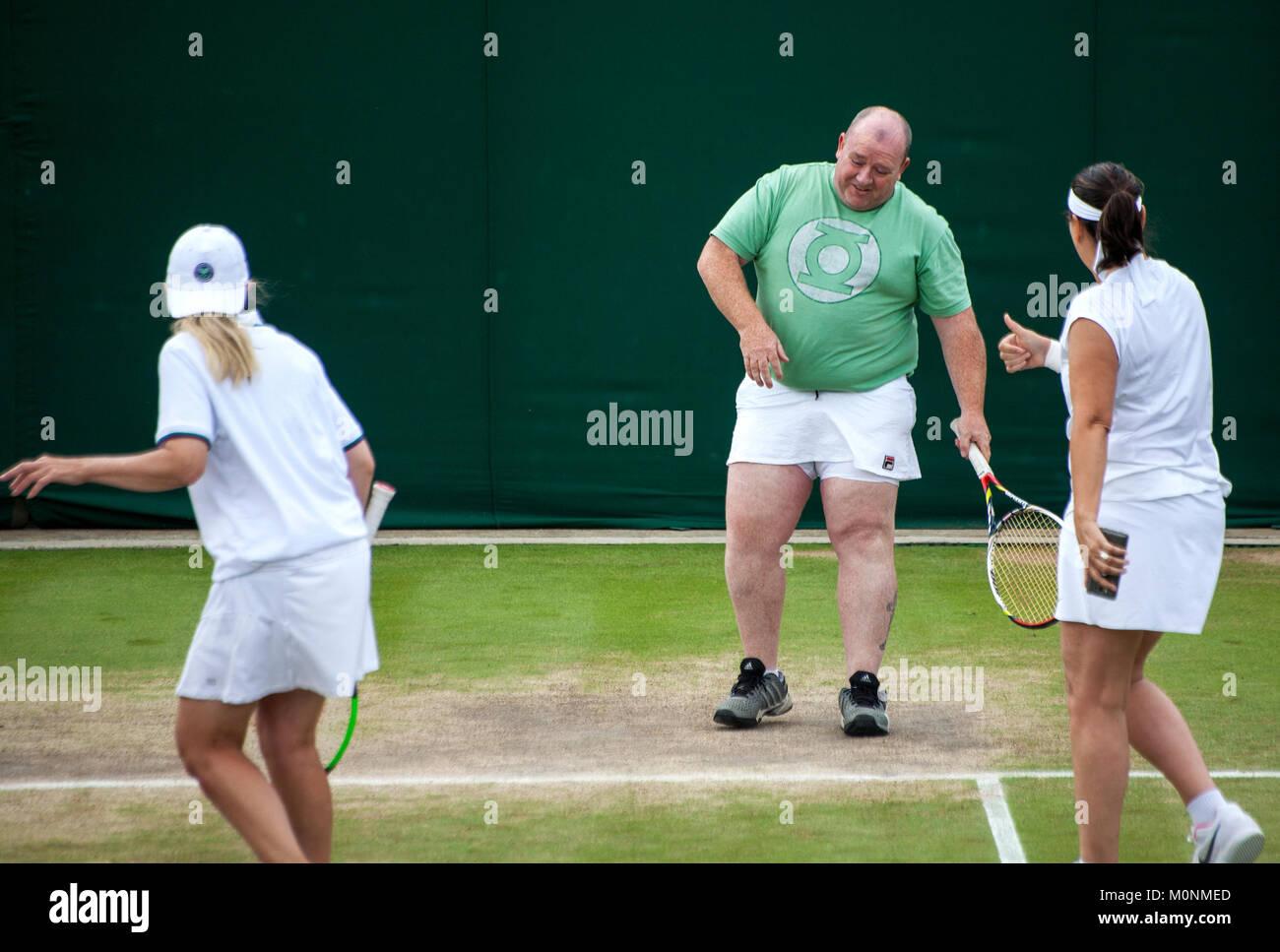 Wimbledon 2017 ladies invitational double fun on court - Stock Image