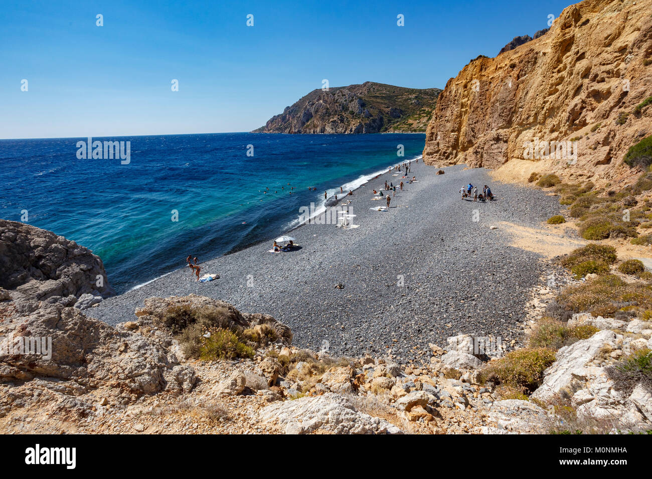 Mavra Volia Beach, Emporios, Chios Island, Greece - Stock Image