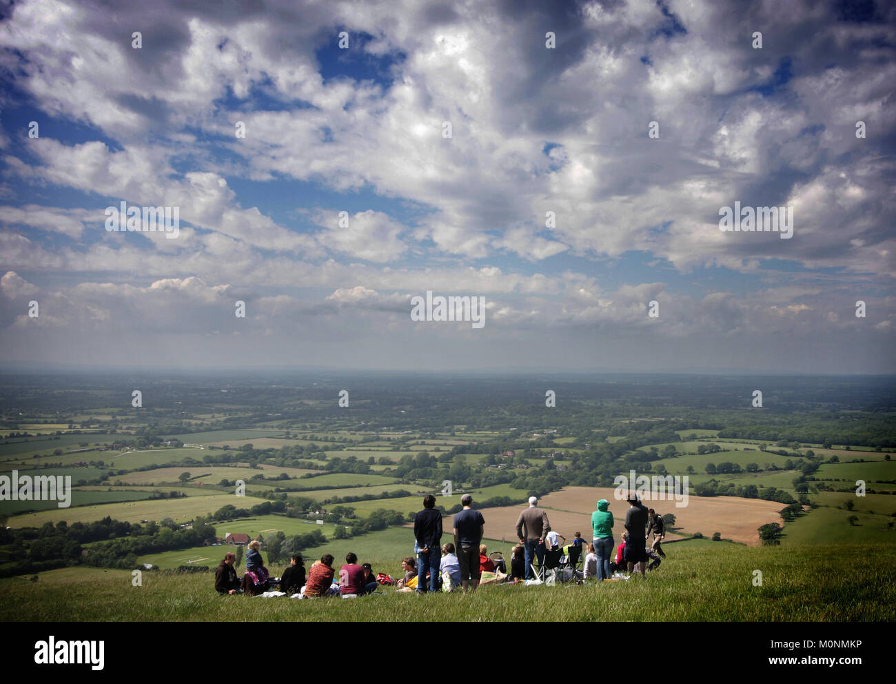 The view from Devil's Dyke towards Fulking in Sussex, England, Britain - Stock Image