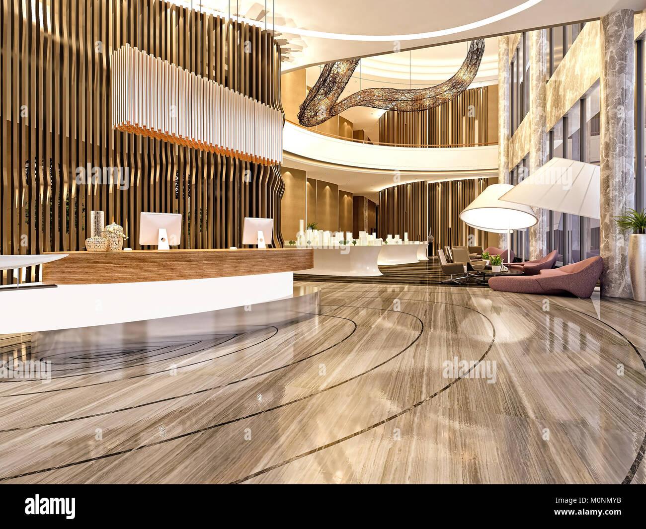 3d Render Of Modern Building Interior Lobby Stock Photo: 172581119