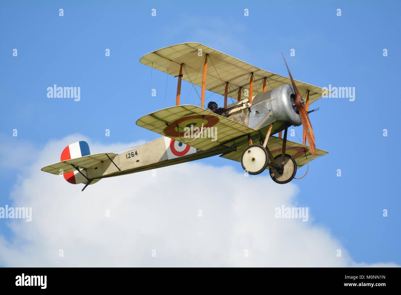 Bristol Scout, world war 1 bi plane fighter at shuttleworth airshow - Stock Image