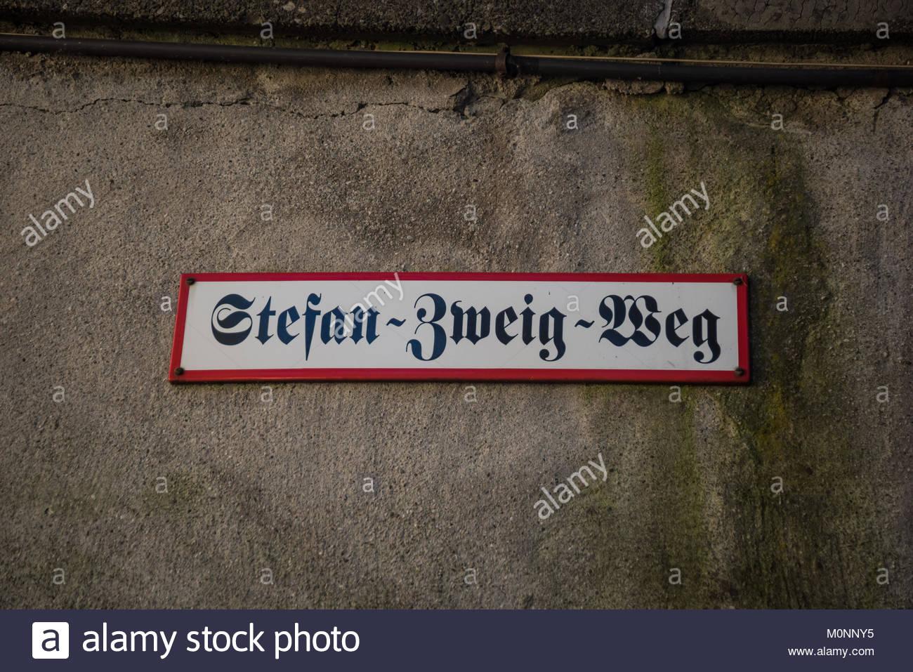 Salzburg, Kapuzinerberg, Stefan-Zweig-Weg - Stock Image