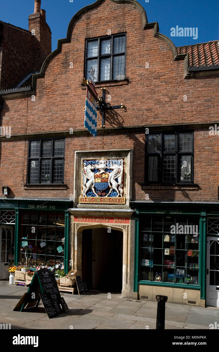 Entrance to the Merchant Adventurers' Hall, Fossgate, York, England, UK - Stock Image