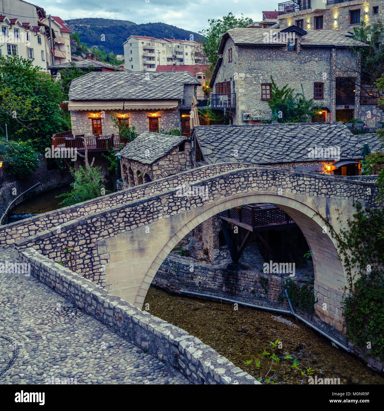 A foot bridge in the old part of Mostar in Bosnia-Herzegovina Stock Photo