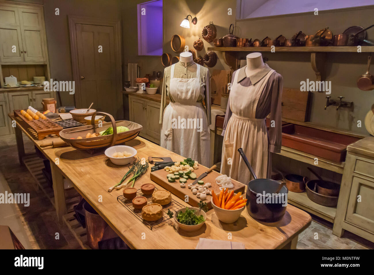 A Downton Abbey exhibit on display for fans of the British show. - Stock Image