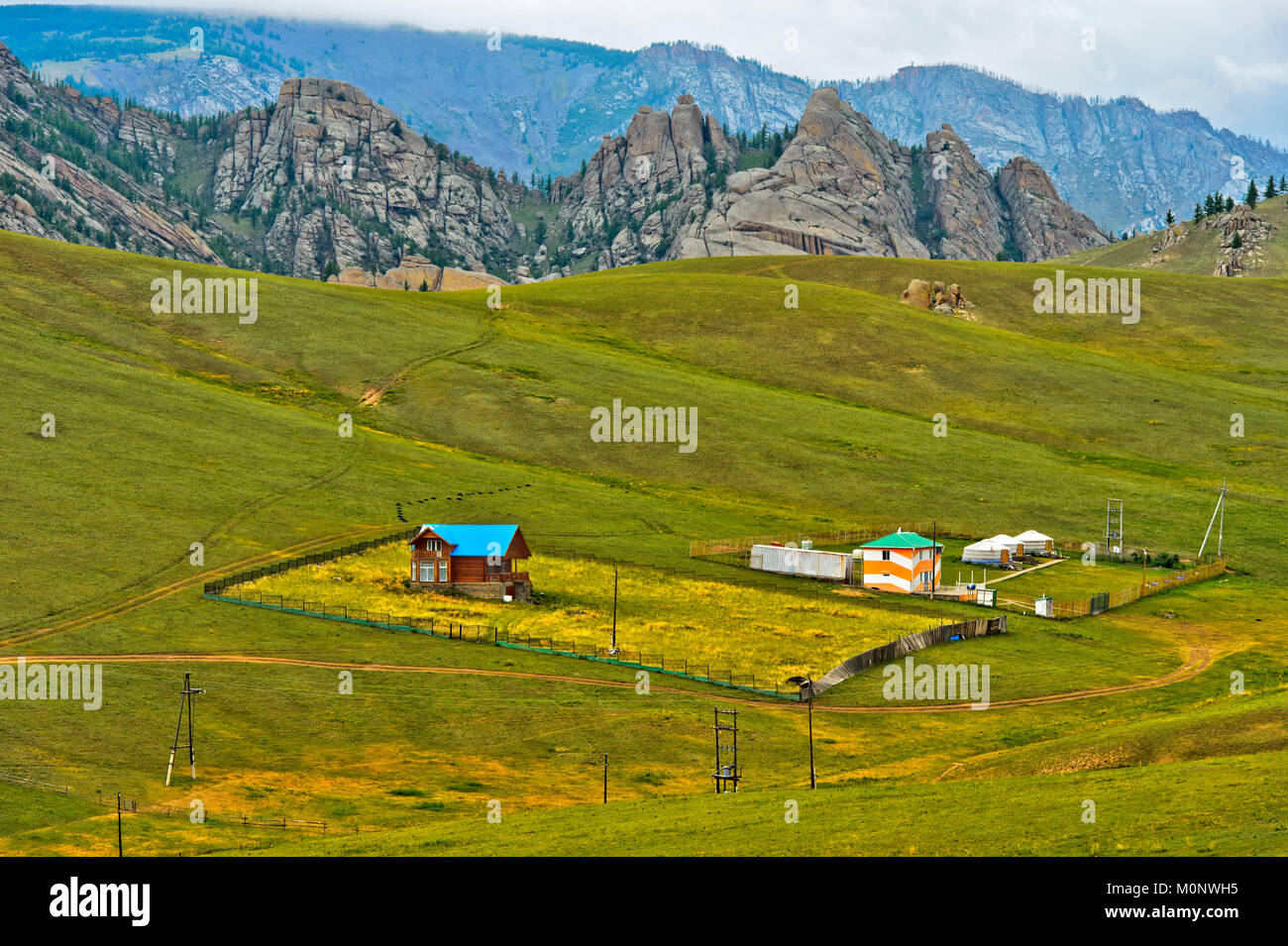 Landscape with dacha and yurts,Gorchi-Tereldsch National Park,Mongolia - Stock Image