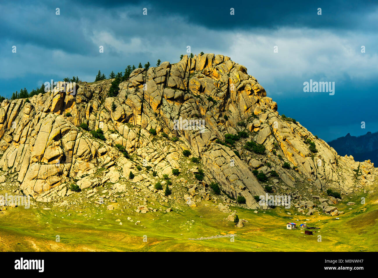 Mountain in the steppe landscape,Gorchi-Tereldsch National Park,Mongolia - Stock Image