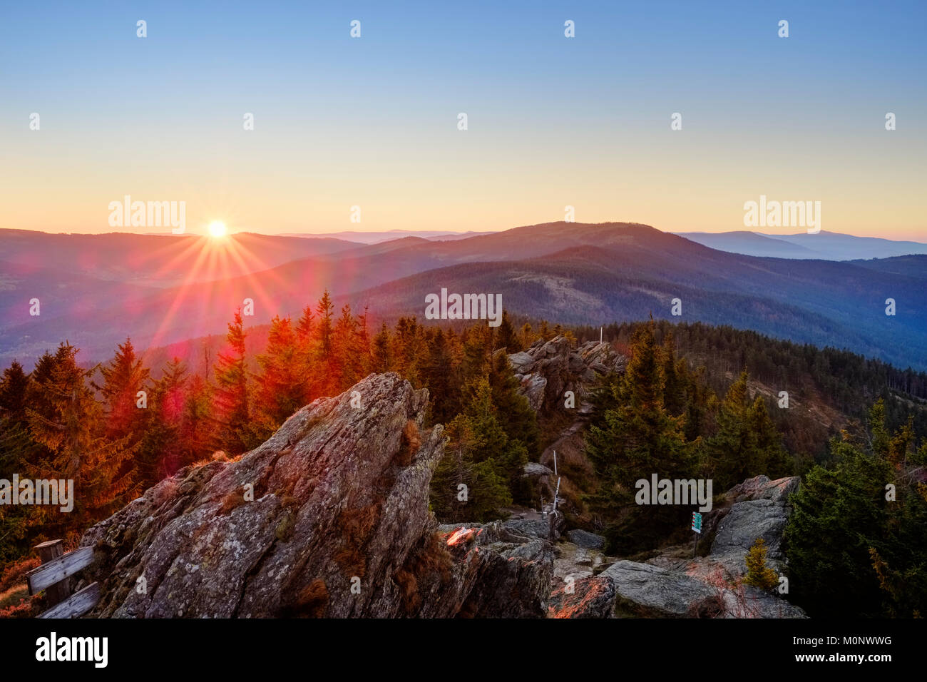 Sunrise,Großer Osser near Lam,Künisches Gebirge,Bavarian Forest,Upper Palatinate,Bavaria,Germany - Stock Image