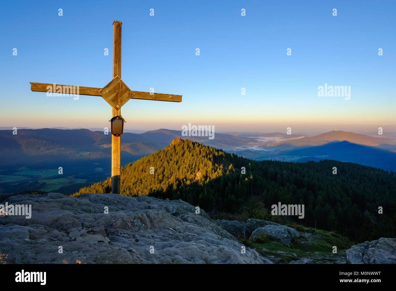Summit cross,Großer Osser near Lam,Künisches Gebirge,Bavarian Forest,Upper Palatinate,Bavaria,Germany - Stock Image