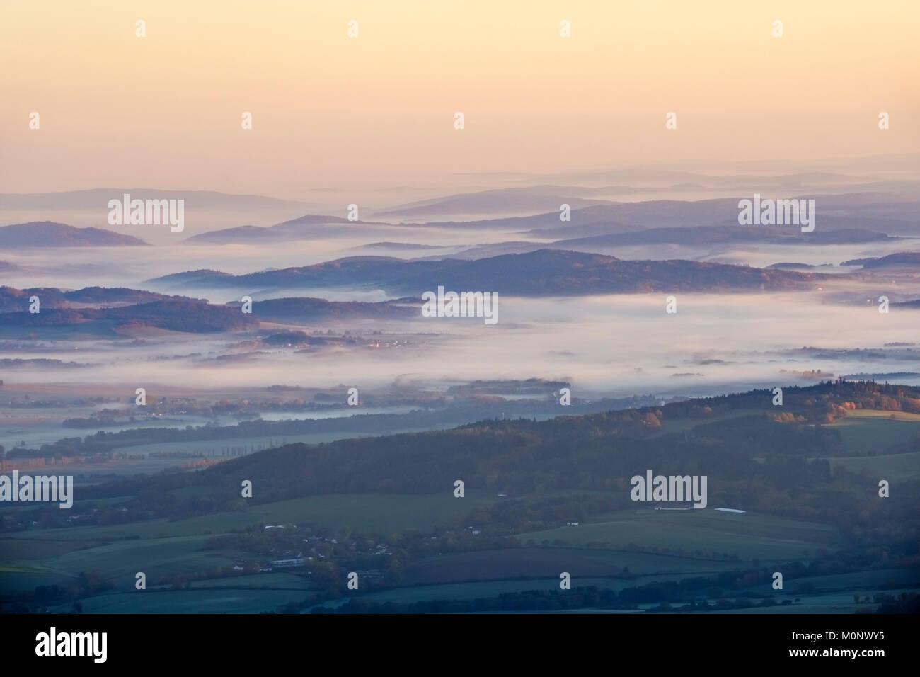 Bohemian Forest in Czech Republic in the morning light,view from Großer Osser near Lam,Bavarian Forest,Upper - Stock Image