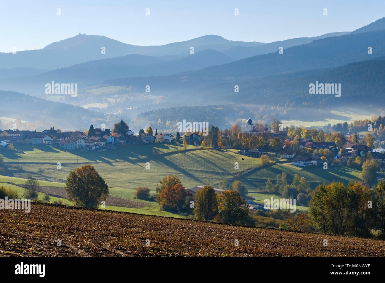 Lam,Lamer Winkel,in the back the Great Arber,Bavarian Forest,Upper Palatinate,Bavaria,Germany - Stock Image