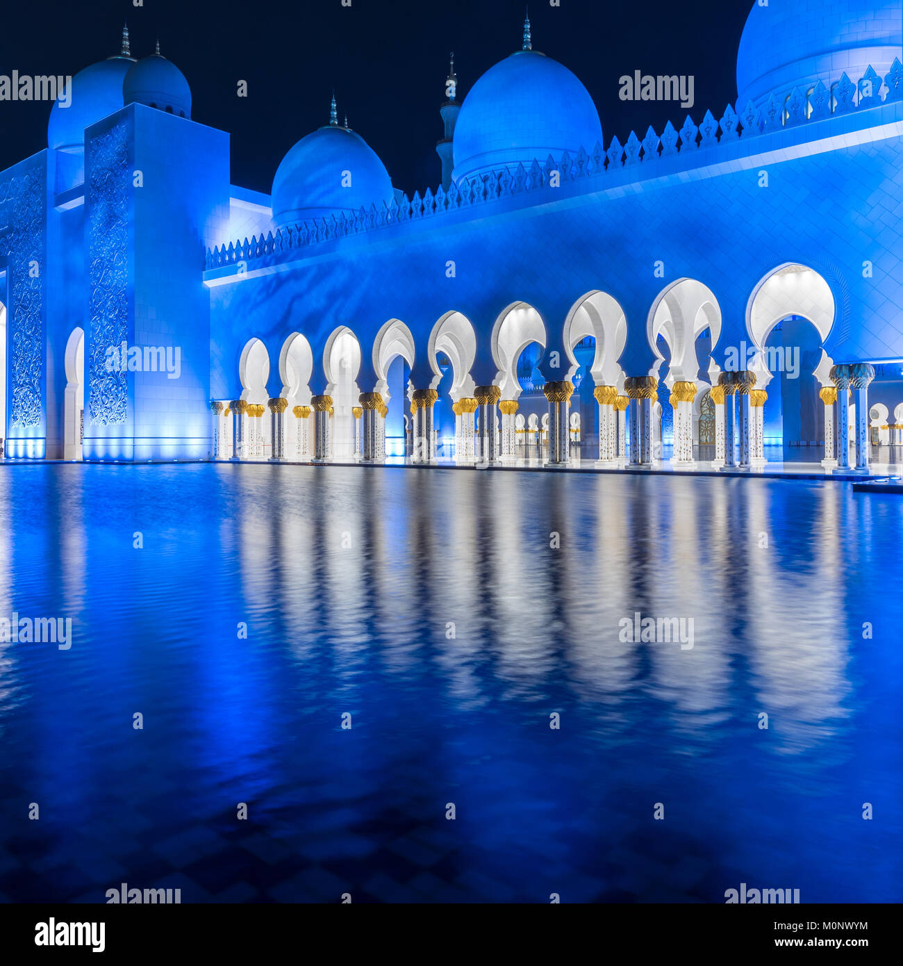 The architecture of the Sheikh Zayed Grand Mosque in Abu Dhabi, UAE - Stock Image