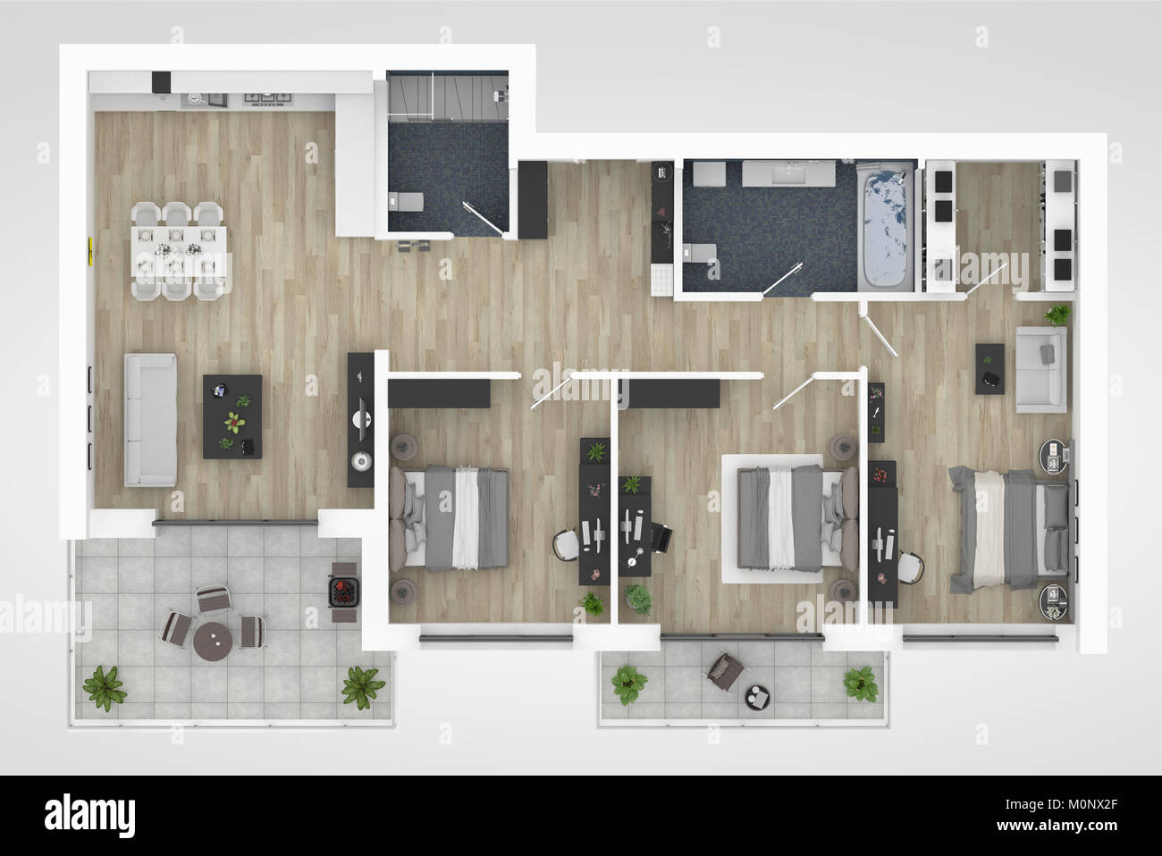Floor Plan Of A House Top View 3d Illustration Open Concept Living Stock Photo Alamy