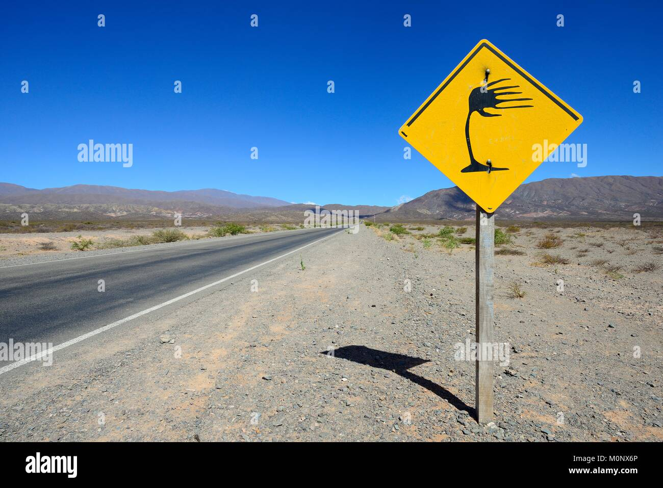 Warning sign crosswind at RP 33,near Cachi,Salta,Argentina - Stock Image