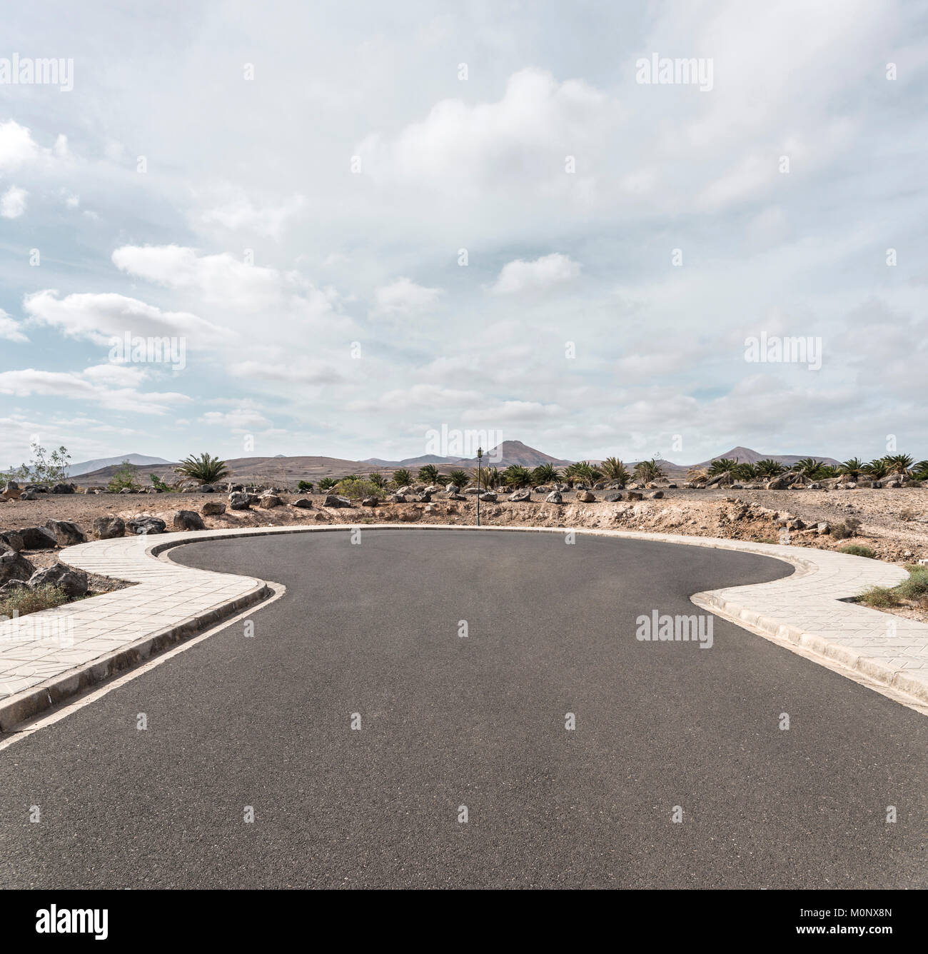 Dead-end street with turning possibility in Puerto Calero,Lanzarote,Spain - Stock Image