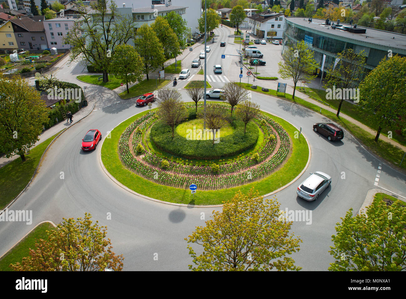 Roundabout federal highway B171,junction motorway access,federal highway B171,junction,Schwaz,Tyrol,Austria - Stock Image