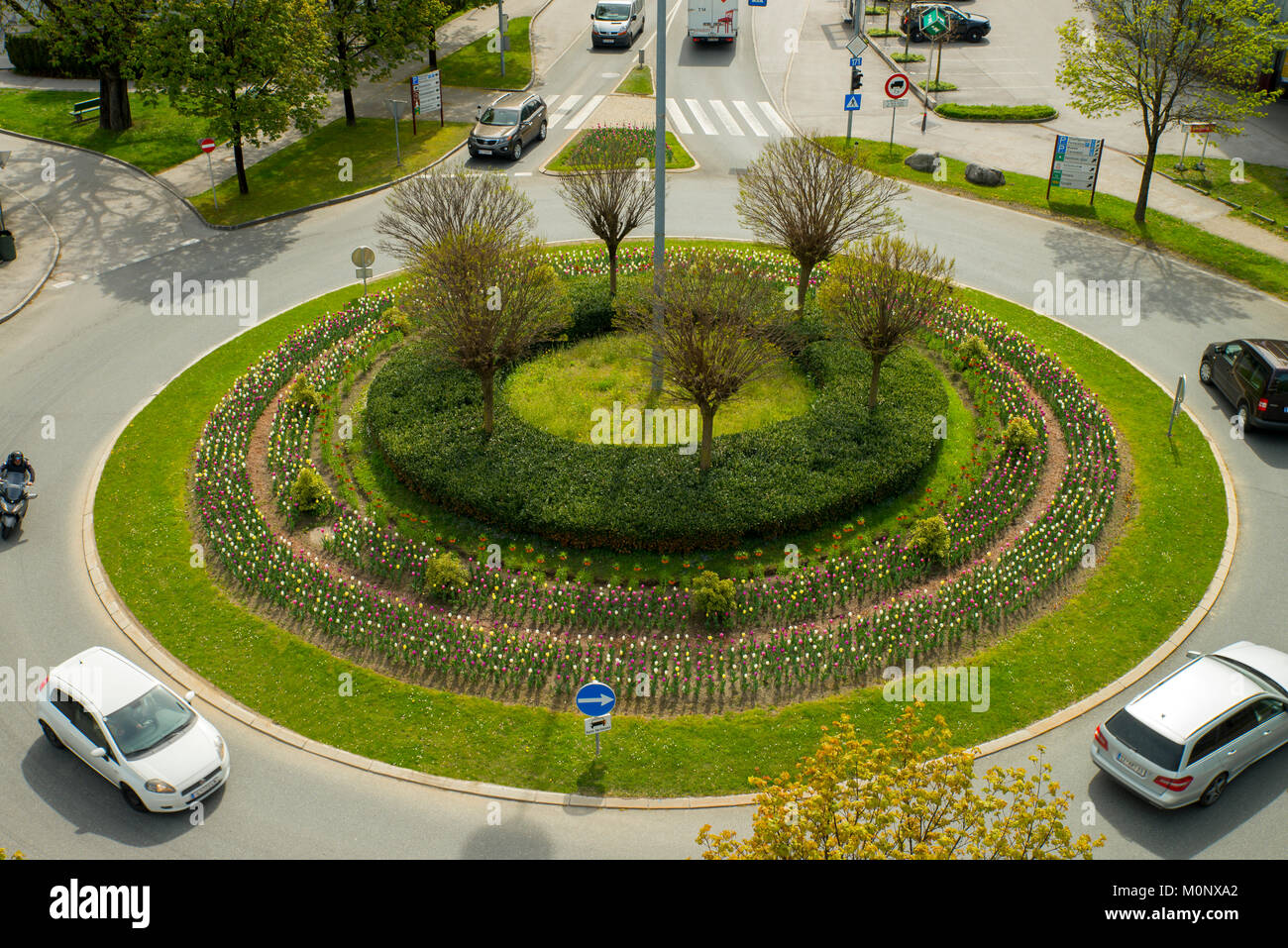 Roundabout federal highway B171,junction autobahn access road,federal highway B171,junction autobahn access road,Schwaz - Stock Image