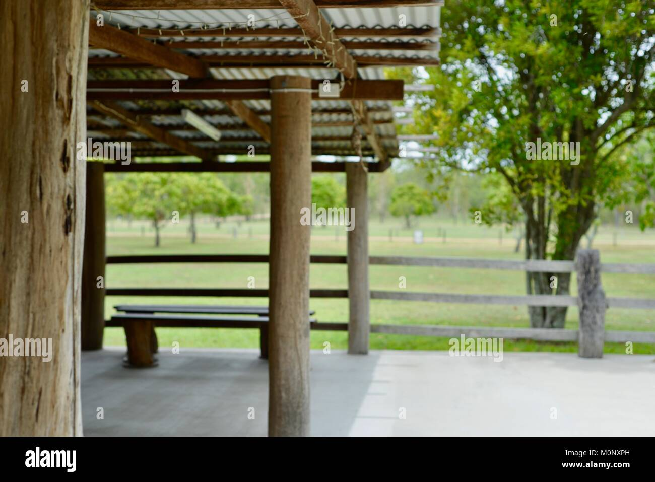 Old stables adapted into an al fresco function room, Historic buildings and scenes from Herveys Range Heritage Tea - Stock Image