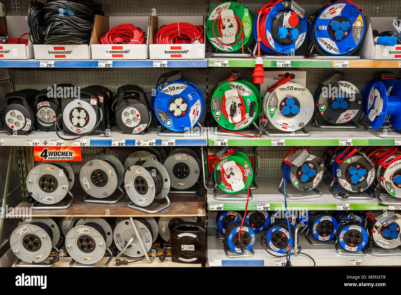 DIY store,cable drums,Bavaria,Germany - Stock Image