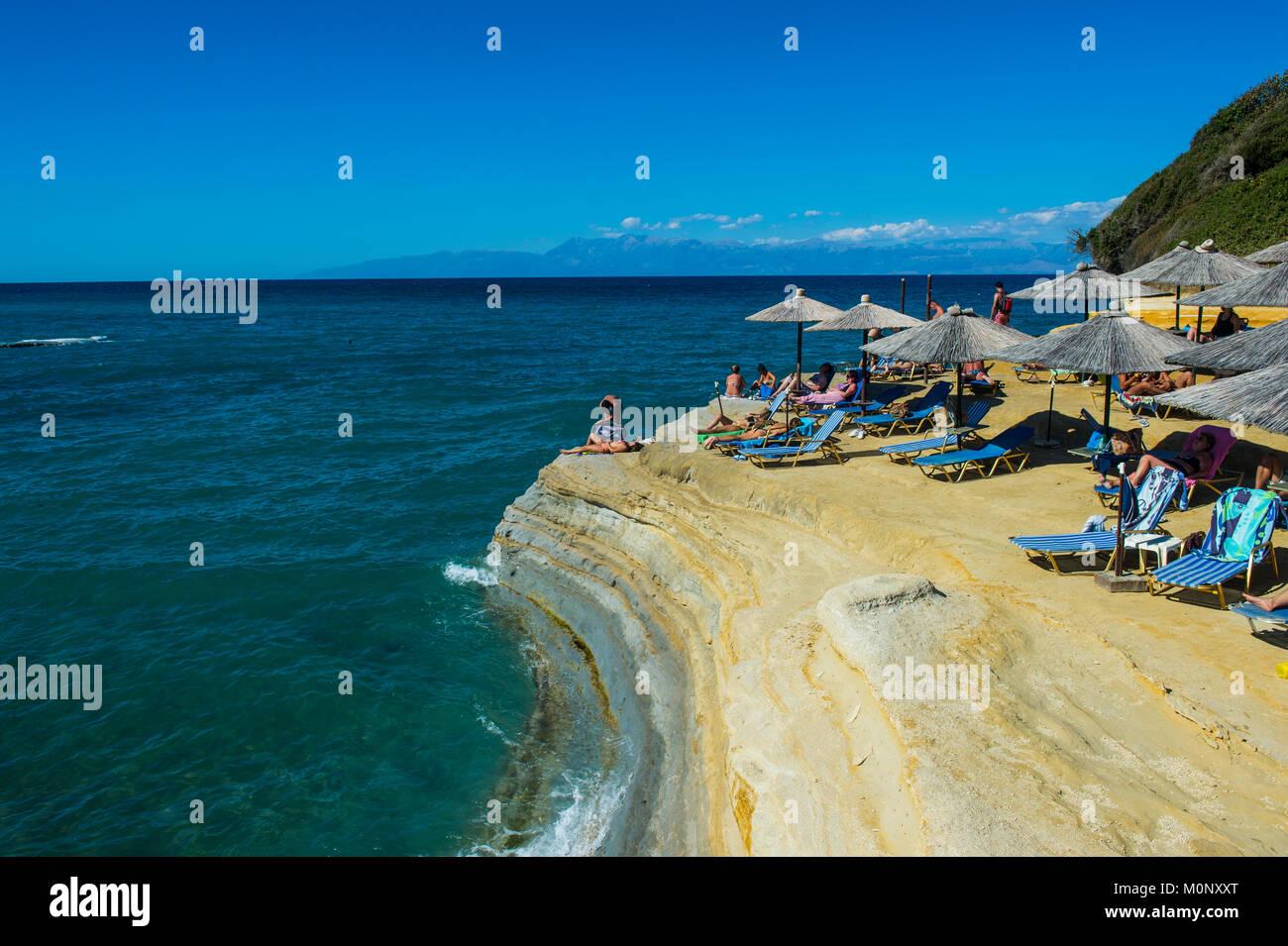 Canal d´amour beach and rock formations,Sidari,Corfu,Ionian Islands,Greece - Stock Image