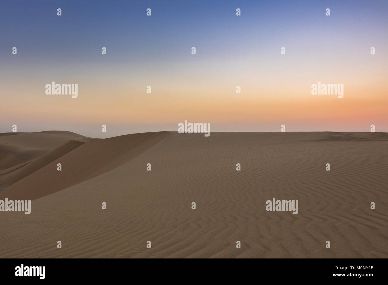 Wide photo of a desert landscape showing it's vastness and beautiful curved lines - Stock Image