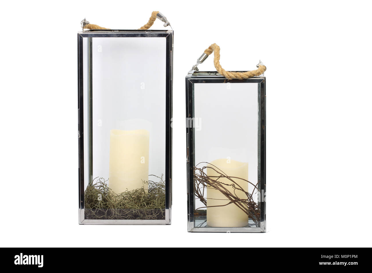 Glass Hanging Candle Holders on Plain Background - Stock Image