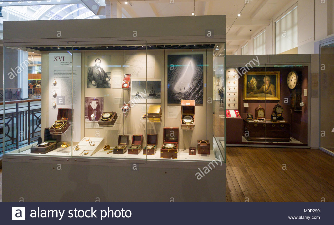 Display of Chronometers inside the Science Museum, Kensington and Chelsea, London, England, United Kingdom - Stock Image