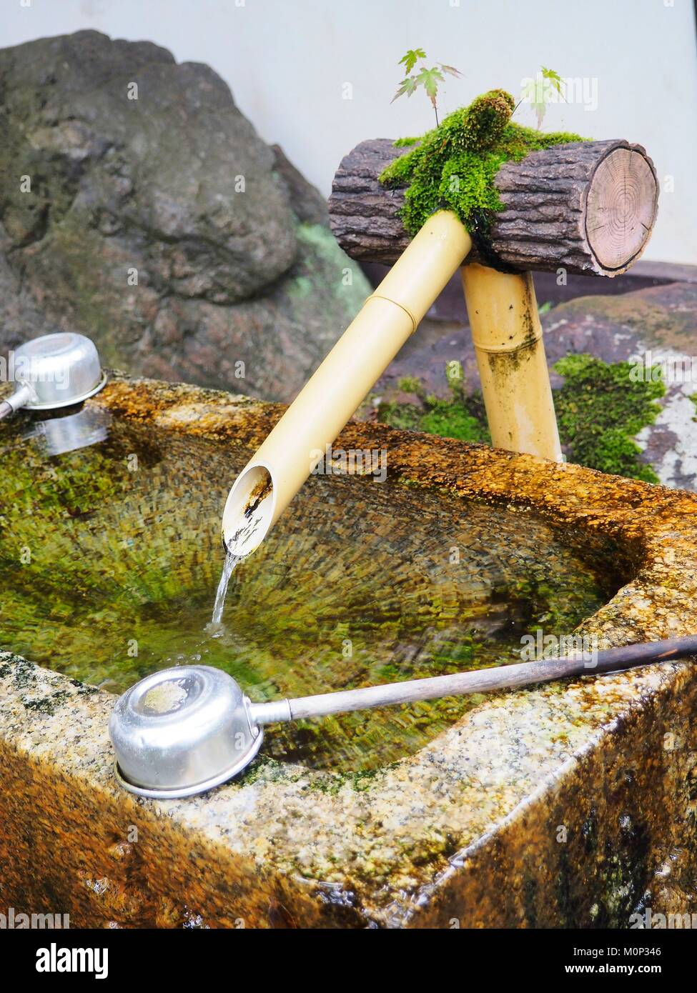 Japan,Kyoto,Kurama,Temple of Kurama Dera,Monastery Daitoku-Ji,purification fountain - Stock Image