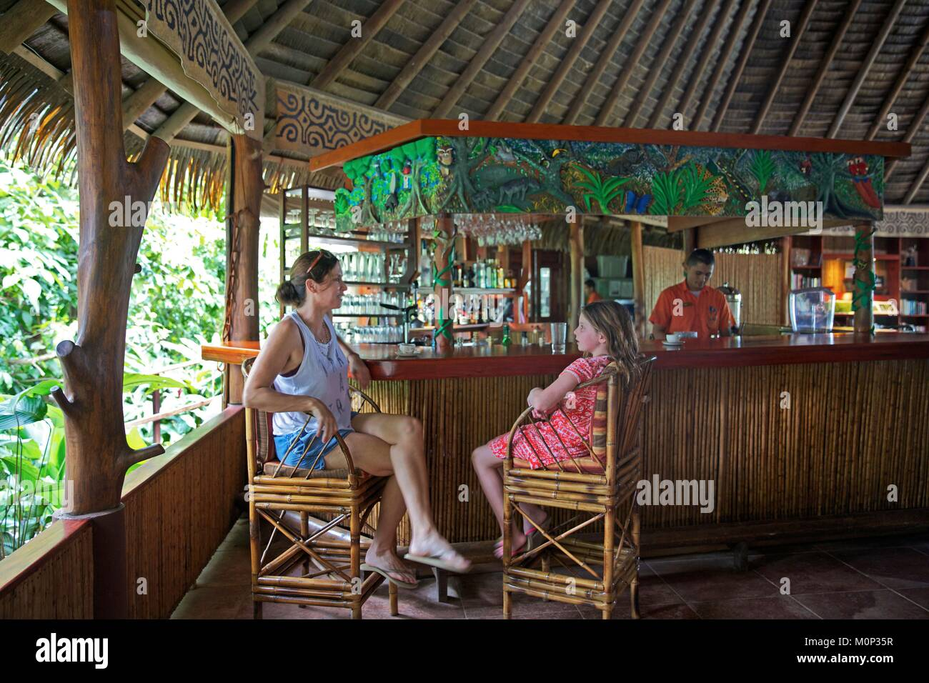 Costa Rica Osa Peninsula Restaurant Of The Ecolodge Lapa Rios Topped Stock Photo Alamy
