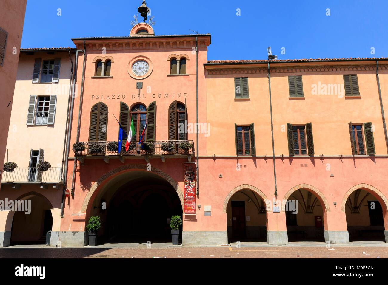 Italy,Piedmont,Cuneo Province,Langhe,Alba,Piazza Risorgimento,town hall - Stock Image
