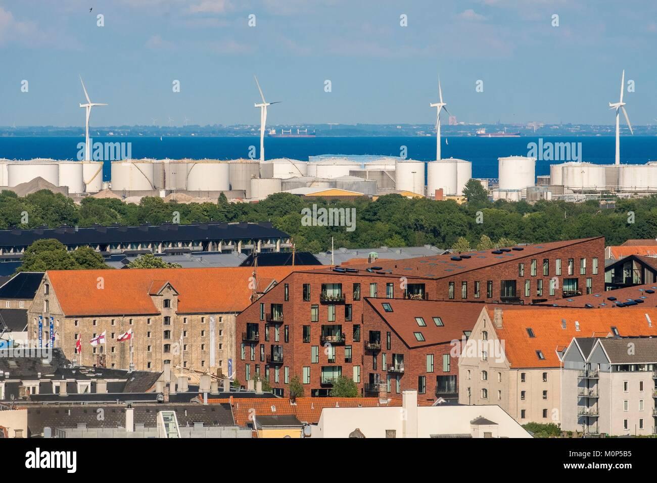 Denmark,Zealand,Copenhagen,warehouses and storage tank - Stock Image
